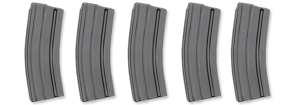 Package of Five 30 Round Aluminum Magazines, .223/5.56mm